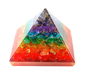 Crystal Clear Quartz Dyed Chakra Colours Chips Orgone Pyramid - Krystal Gifts UK