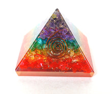 Load image into Gallery viewer, Crystal Clear Quartz Dyed Chakra Colours Chips Orgone Pyramid - Krystal Gifts UK