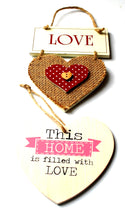 Load image into Gallery viewer, Clearance Sale! Double Wooden Heart Hanging Sign Set Reduced!