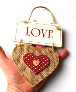 Clearance Sale! Double Wooden Heart Hanging Sign Set Reduced!