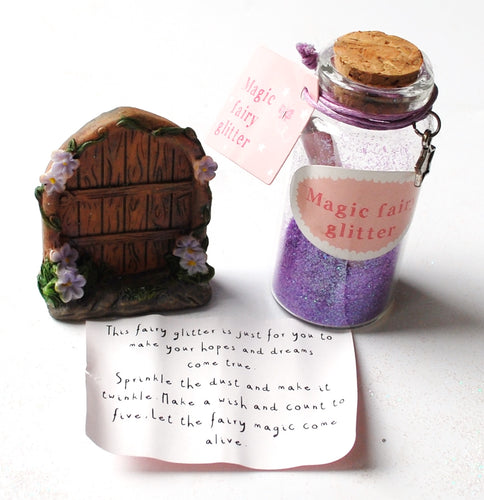 Clearance Sale! Secret Fairy Door With Purple Glitter & Scroll Bottle Gift Set