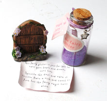 Load image into Gallery viewer, Clearance Sale! Secret Fairy Door With Purple Glitter & Scroll Bottle Gift Set