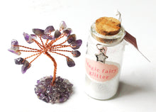 Load image into Gallery viewer, Clearance Sale! Natural Amethyst Crystal Tree & Fairy Dust Bottle Inc Secret Scroll Gift
