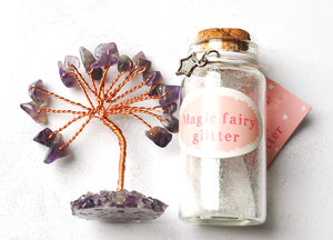 Clearance Sale! Natural Amethyst Crystal Tree & Fairy Dust Bottle Inc Secret Scroll Gift