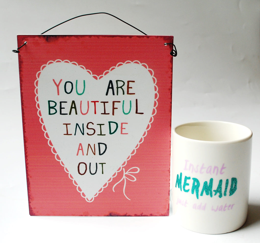 Clearance Sale! 'Mermaid' Mug And 'You Are Beautiful' Hanging Sign Gift Set