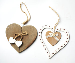 Clearance Sale! Wooden Twin Love Hanging Rustic Heart Gift Set