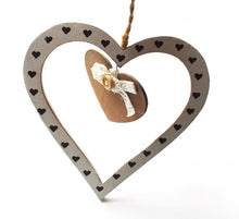 Load image into Gallery viewer, Clearance Sale! Wooden Twin Love Hanging Rustic Heart Gift Set
