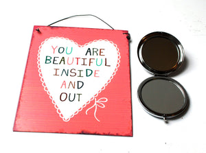 CLEARANCE SALE! Butterfly Folding Metal Mirror & Beautiful Heart Sign Gift Set