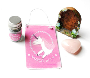 CLEARANCE STOCK! Natural Rose Quartz Heart, Unicorn Sign & Food, Fairy Door Gift Set