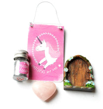 Load image into Gallery viewer, CLEARANCE STOCK! Natural Rose Quartz Heart, Unicorn Sign & Food, Fairy Door Gift Set