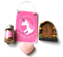 Load image into Gallery viewer, CLEARANCE SALE! Rose Quartz Crystal Unicorn & Fairy Door Gift Set