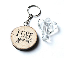Load image into Gallery viewer, CLEARANCE SALE! Clear Glass Angel Figure & Wooden 'Love You' Keyring Gift Set
