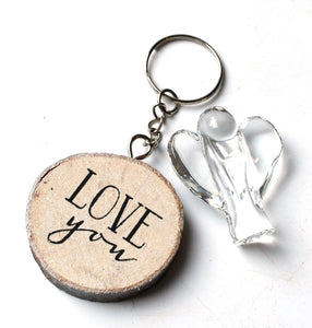 CLEARANCE SALE! Clear Glass Angel Figure & Wooden 'Love You' Keyring Gift Set