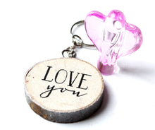 Load image into Gallery viewer, CLEARANCE SALE! Pink Glass Angel Figure & Wooden 'Love You' Keyring Gift Set