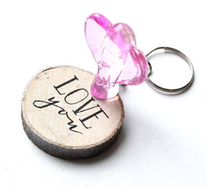 CLEARANCE SALE! Pink Glass Angel Figure & Wooden 'Love You' Keyring Gift Set