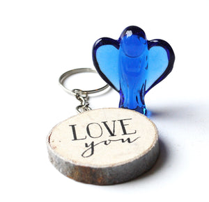 CLEARANCE SALE! Blue Glass Angel Figure & Wooden 'Love You' Keyring Gift Set