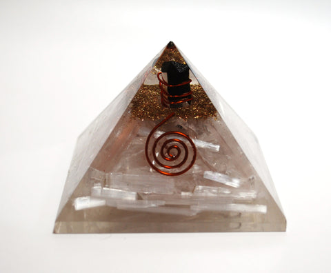 Large Reiki Energy Charged Selenite & Black Tourmaline Orgone Pyramid Powerful 100942 - Krystal Gifts UK