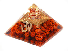 Load image into Gallery viewer, New! Natural Clear Quartz & Rudraksha Seeds Large Orgone Pyramid With 'OM'