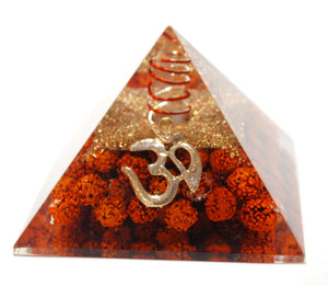 New! Natural Clear Quartz & Rudraksha Seeds Large Orgone Pyramid With 'OM'