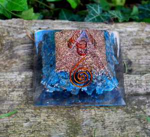 New! Large Apatite Crystal Stones Blue Orgone Orgonite Pyramid