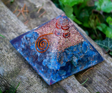 Load image into Gallery viewer, New! Large Apatite Crystal Stones Blue Orgone Orgonite Pyramid