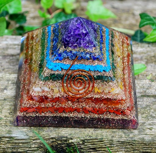 Large Natural Chakra Crystal Stones Layered Orgone/Orgonite Pyramid