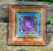 Load image into Gallery viewer, Large Natural Chakra Crystal Stones Layered Orgone/Orgonite Pyramid