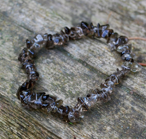 New! Smoky Quartz Natural Crystal Stone Chips Bracelet