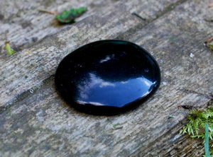New! Black Obsidian Natural Polished Cabachone Worry Stone