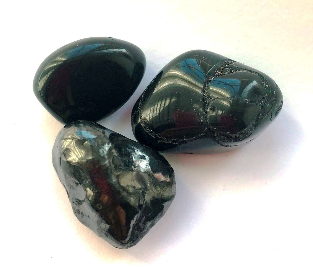 New! Natural Shungite, Black Tourmaline & Black Obsidian Protection Crystal Tumble Stone Set