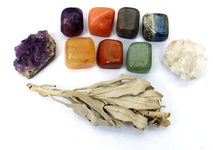 New! Natural Crystal Healing Starter Gift Set Kit Wrapped With Love