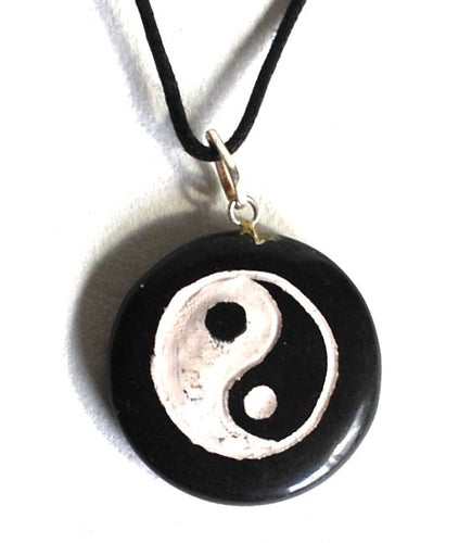 **CLEARANCE** Black Agate Yin Yang Crystal Pendant Hand Painted Necklace - Krystal Gifts UK