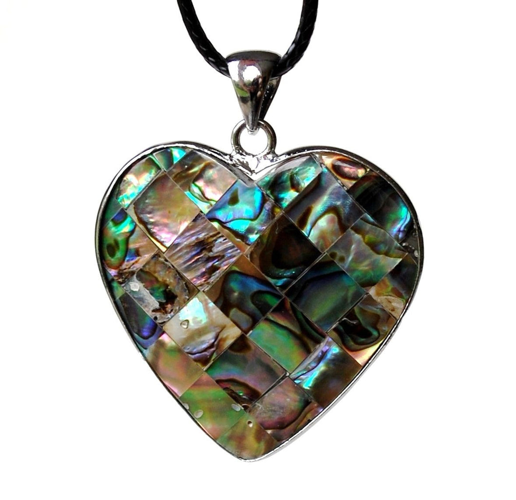 Beautiful & Colourful Abalone Shell Heart Pendant - Krystal Gifts UK