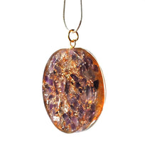 Load image into Gallery viewer, Orgone Amethyst Flower Of Life Pendant Inc Silver Plated Snake Chain