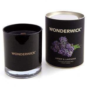 New! Amber & Lavender Luxury Fragranced Wonderwick Vegan Candle Free UK Shipping! (GMO & Palm Oil Free) Gift Boxed