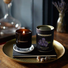 Load image into Gallery viewer, New! Amber & Lavender Luxury Fragranced Wonderwick Vegan Candle Free UK Shipping! (GMO & Palm Oil Free) Gift Boxed