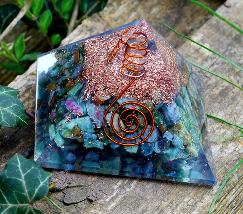 New! Large Chrysocolla Crystal Stone Orgone Pyramid