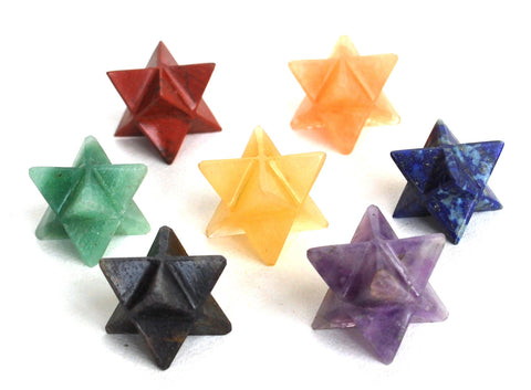 Merkaba Star Chakra Set Of 7 Healing Stones - Krystal Gifts UK