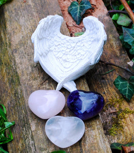 New! RAC Rose Quartz Amethyst & Clear Quartz Natural Crystal Heart & Angel Dish Set