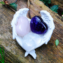 Load image into Gallery viewer, New! RAC Rose Quartz Amethyst & Clear Quartz Natural Crystal Heart & Angel Dish Set
