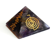 Load image into Gallery viewer, Amethyst Crystal Stone Engraved Large Pyramid