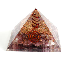 Load image into Gallery viewer, Large Lepidolite & Clear Quartz Crystal Stone  Orgone Pyramid