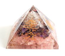 Load image into Gallery viewer, Amethyst+Rose+Clear Quartz Crystal Stone Chips Engraved Orgone Pyramid