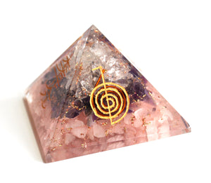 Amethyst+Rose+Clear Quartz Crystal Stone Chips Engraved Orgone Pyramid