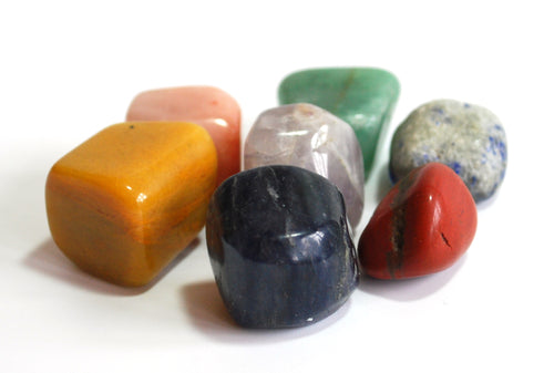 Large Seven Chakras Crystal Stone Tumble Set Gift Wrapped With Description Card