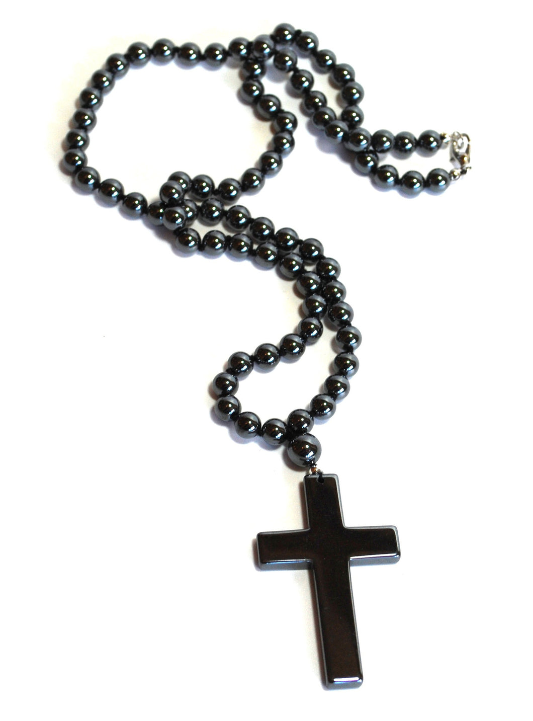Hematite Large 5 cm Crystal Cross Pendant - Krystal Gifts UK
