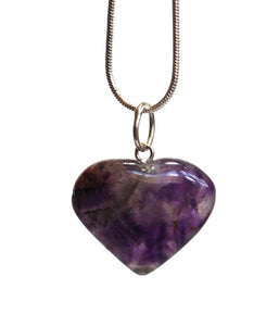 Amethyst Crystal Heart Pendant with Silver Chain - Krystal Gifts UK
