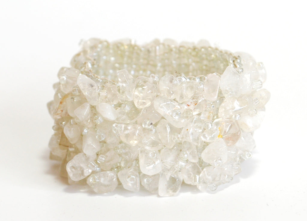 Clear Quartz Chip Crystal Bracelet (size Small to Medium) - Krystal Gifts UK
