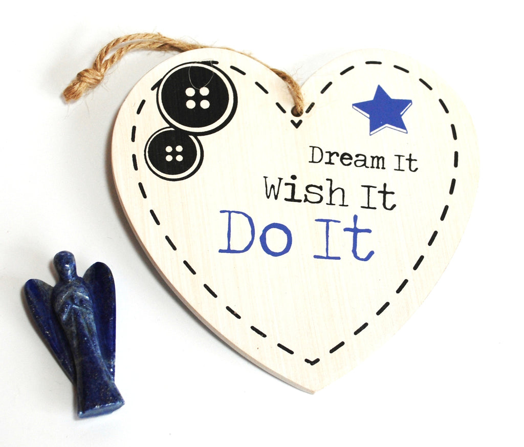 "Shabby Chic ""Dream It, Wish It, Do It"" Wall Hanging & Lapis Lazuli Crystal Angel Gift Set - Krystal Gifts UK"