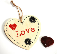"Load image into Gallery viewer, Shabby Chic ""Love"" Wall Hanging & Red Jasper Crystal Heart Gift Set - Krystal Gifts UK"